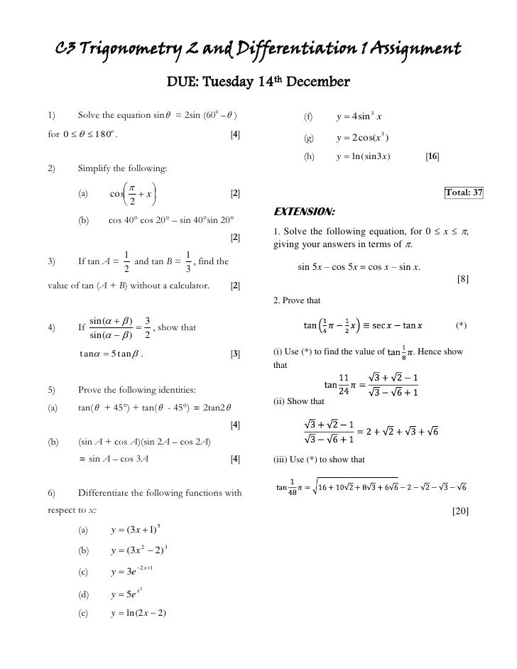 Core 3 assignement 5 10 11 (trigonometry 2 and ...