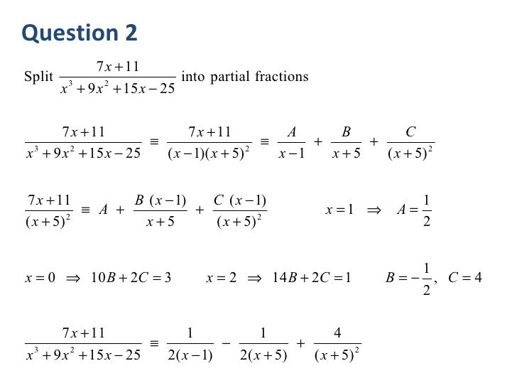 how to solve a partial fraction