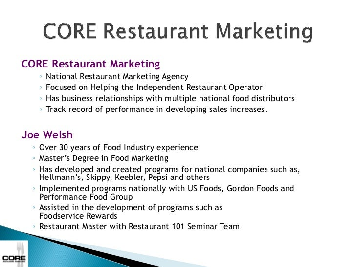 CORE Restaurant Marketing   ◦   National Restaurant Marketing Agency   ◦   Focused on Helping the Independent Restaurant O...