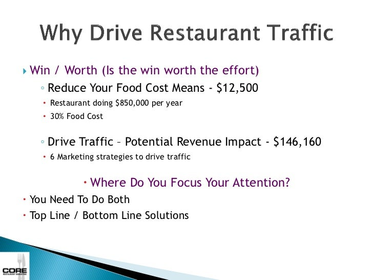    Win / Worth (Is the win worth the effort)     ◦ Reduce Your Food Cost Means - $12,500      • Restaurant doing $850,000...