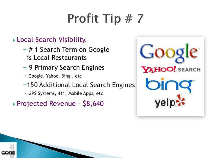    Local Search Visibility.      − # 1 Search Term on Google       is Local Restaurants      − 9 Primary Search Engines  ...