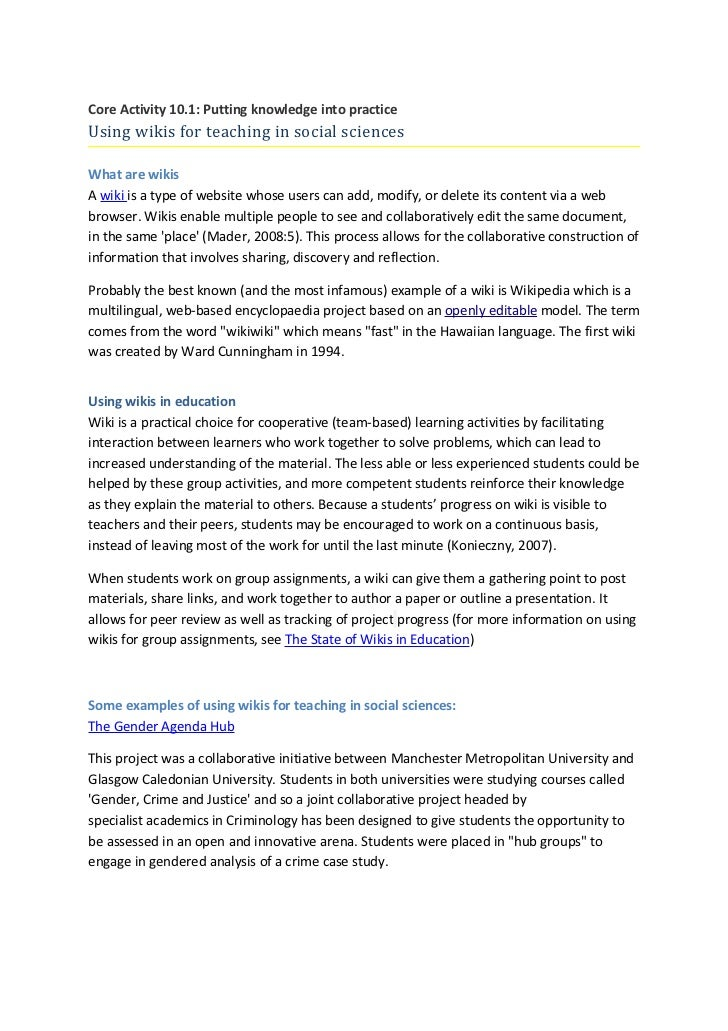Core activity 10.1.using wikis for teaching in social sciences