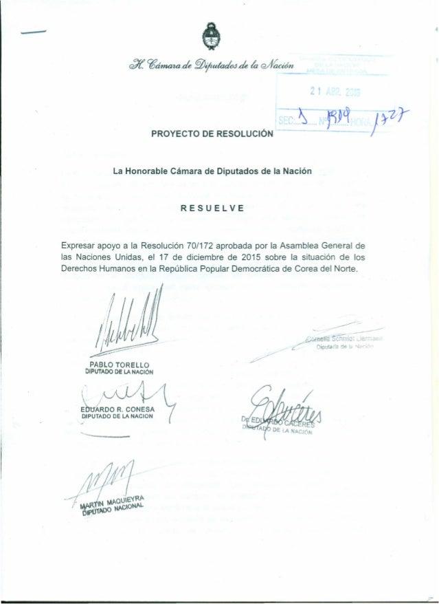 - PROYECTO DE RESOLUCiÓN La Honorable Cámara de Diputados de la Nación RESUELVE Expresar apoyo a la Resolución 70/172 apro...