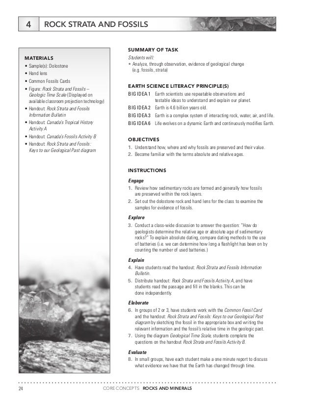 Core Concepts Rocks Minerals – Relative Ages of Rocks Worksheet