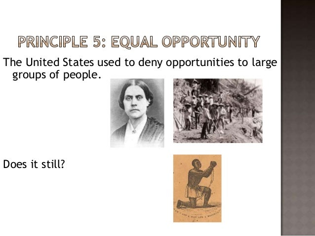 The united states promise of equal opportunity to pursuit ones happiness