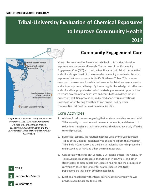 SUPERFUND RESEARCH PROGRAM Tribal-University Evaluation of Chemical Exposures to Improve Community Health 2014 Oregon Stat...