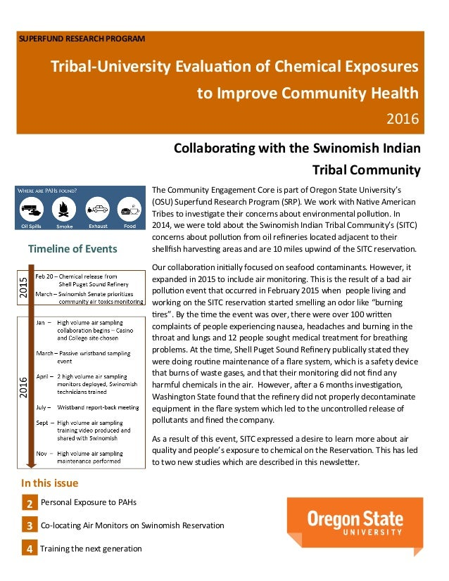 SUPERFUND RESEARCH PROGRAM Tribal-University Evaluation of Chemical Exposures to Improve Community Health 2016 Collaborati...