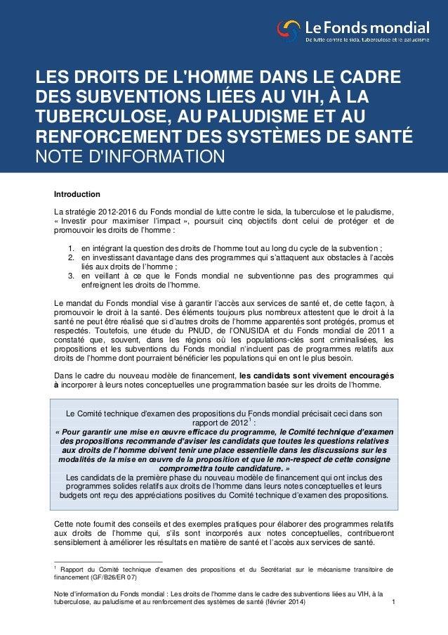 Note d'information du Fonds mondial : Les droits de l'homme dans le cadre des subventions liées au VIH, à la tuberculose, ...