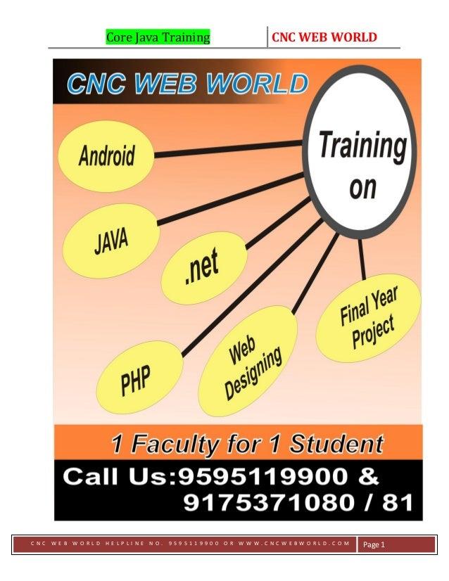 Core Java Training CNC WEB WORLD C N C W E B W O R L D H E L P L I N E N O . 9 5 9 5 1 1 9 9 0 0 O R W W W . C N C W E B W...