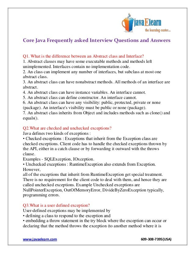 user defined exceptions in java interview questions