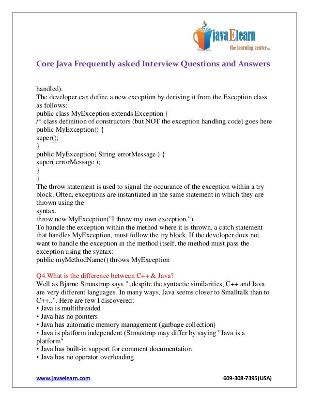 Questions answers core java interview pdf with