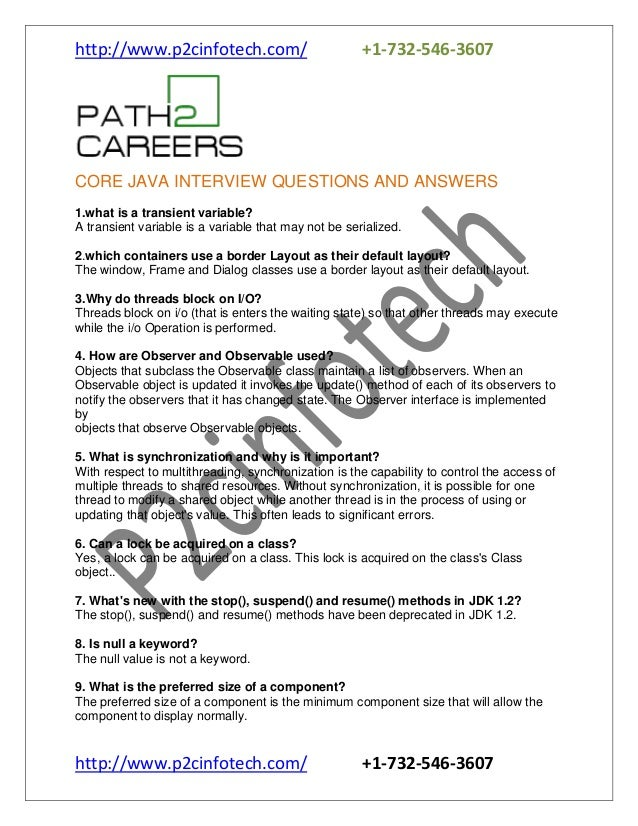 http://www.p2cinfotech.com/ +1-732-546-3607 http://www.p2cinfotech.com/ +1-732-546-3607 CORE JAVA INTERVIEW QUESTIONS AND ...