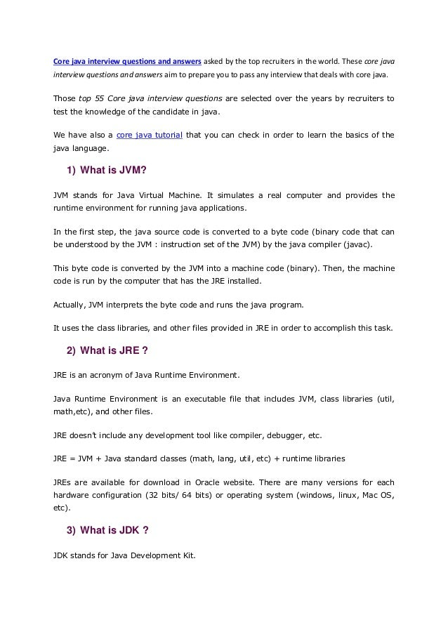 Core Java Interview Questions And Answers For Freshers Pdf