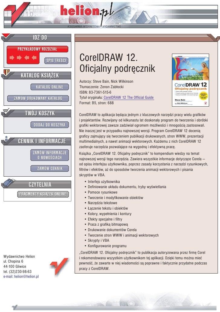 IDZ DO          PRZYK£ADOWY ROZDZIA£                             SPIS TRE CI   CorelDRAW 12.                              ...