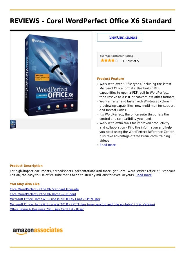 REVIEWS - Corel WordPerfect Office X6 StandardViewUserReviewsAverage Customer Rating3.9 out of 5Product FeatureWork with o...