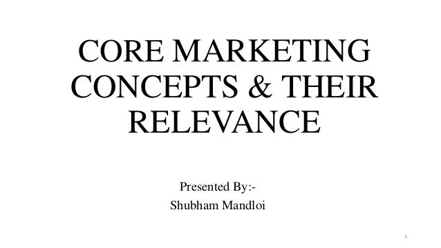 CORE MARKETING CONCEPTS & THEIR RELEVANCE Presented By:- Shubham Mandloi 1
