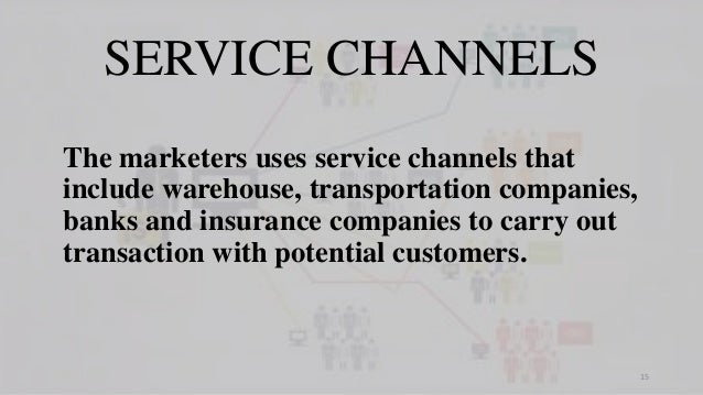 SERVICE CHANNELS The marketers uses service channels that include warehouse, transportation companies, banks and insurance...