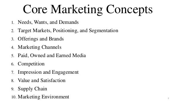 Core Marketing Concepts 1. Needs, Wants, and Demands 2. Target Markets, Positioning, and Segmentation 3. Offerings and Bra...