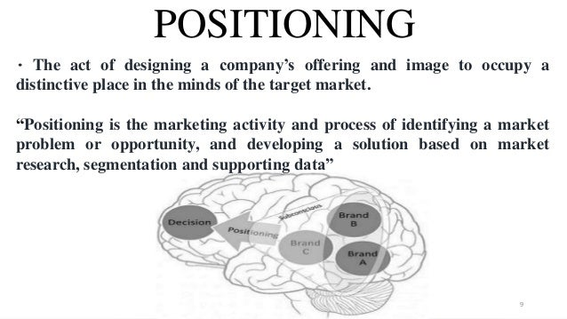 POSITIONING • The act of designing a company's offering and image to occupy a distinctive place in the minds of the target...