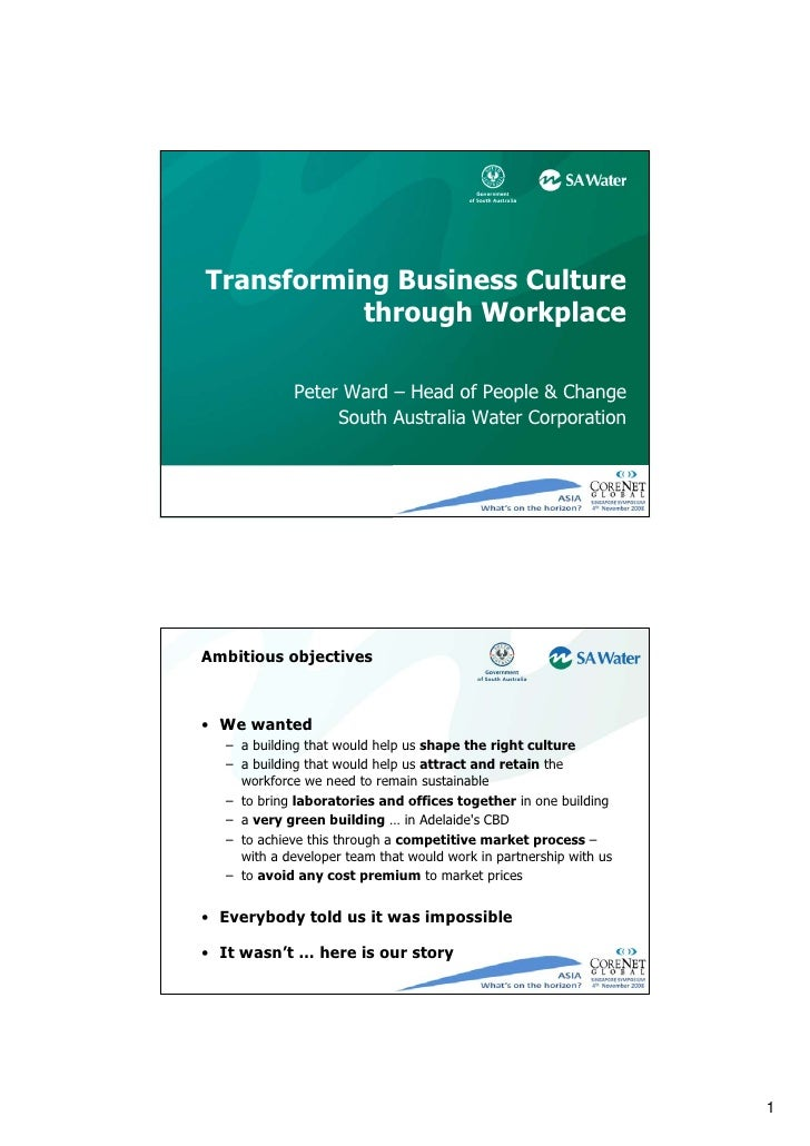 Transforming Business Culture           through Workplace               Peter Ward – Head of People & Change              ...