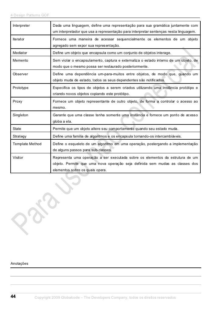 4 Design Patterns GOF Interpreter             Dada uma linguagem, define uma representação para sua gramática juntamente c...
