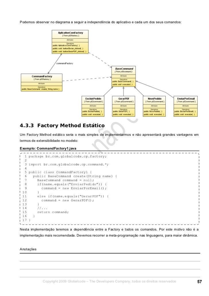 Podemos observar no diagrama a seguir a independência do aplicativo e cada um dos seus comandos:4.3.3 Factory Method Estát...