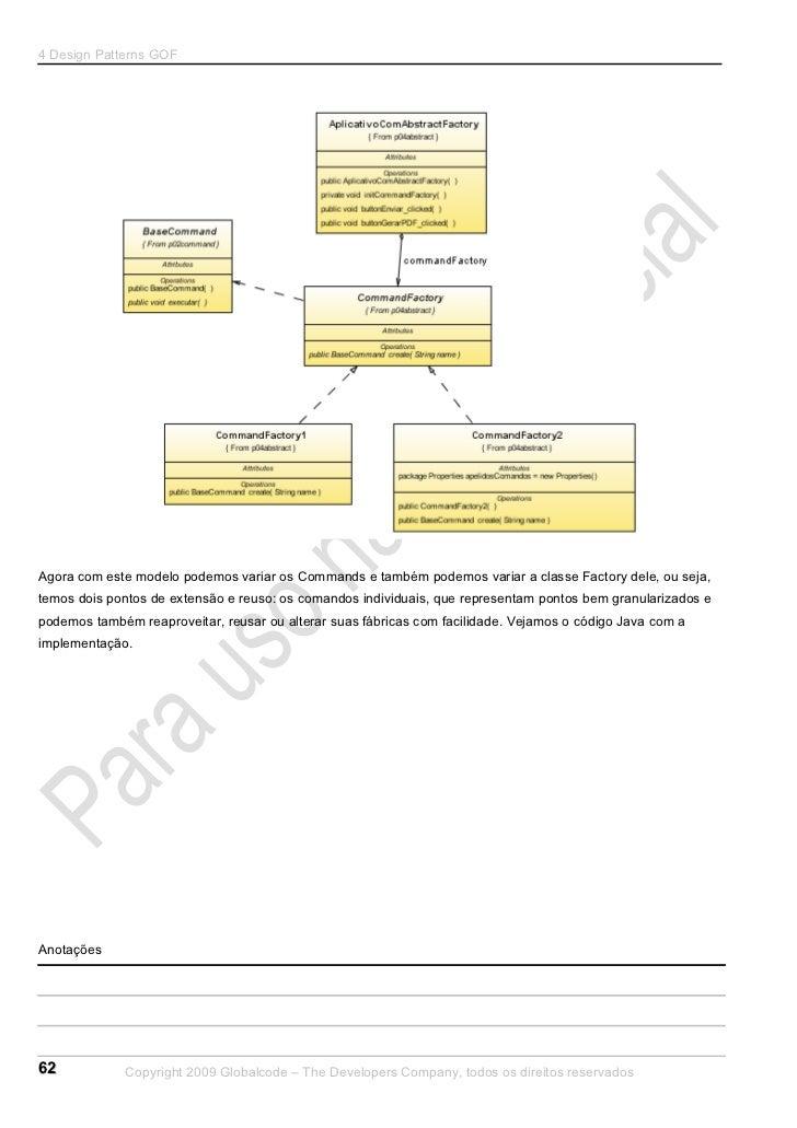 4 Design Patterns GOFAgora com este modelo podemos variar os Commands e também podemos variar a classe Factory dele, ou se...