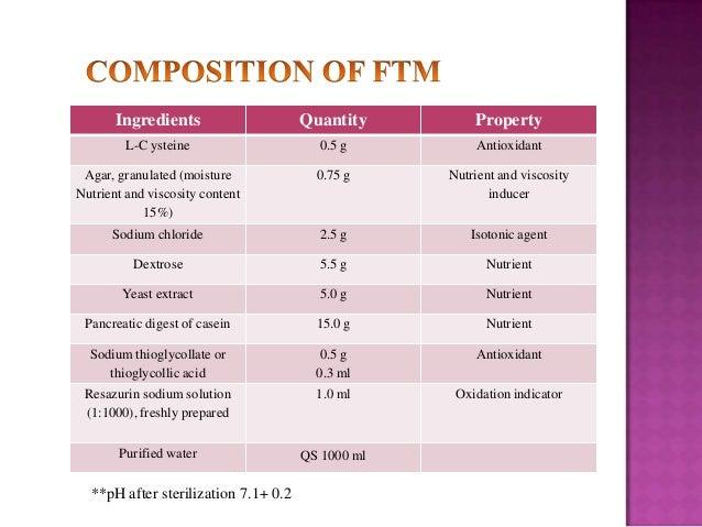 Ingredients  Quantity  Property  L-C ysteine  0.5 g  Antioxidant  Agar, granulated (moisture Nutrient and viscosity conten...