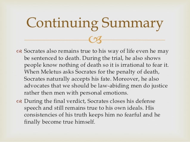 socrates defense in the apology essay Url conference papers series: wwwatinergr/papershtm defense speech against what he calls the first accusations in plato's apology of socrates at the beginning of his defense speech, socrates surprisingly does not turn.
