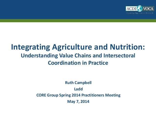 Integrating Agriculture and Nutrition: Understanding Value Chains and Intersectoral Coordination in Practice Ruth Campbell...