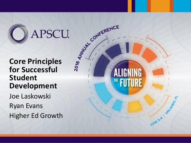 #APSCU16 Core Principles for Successful Student Development Joe Laskowski Ryan Evans Higher Ed Growth