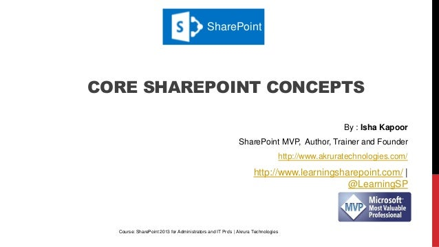 CORE SHAREPOINT CONCEPTS Course: SharePoint 2013 for Administrators and IT Pro's | Akrura Technologies By : Isha Kapoor Sh...