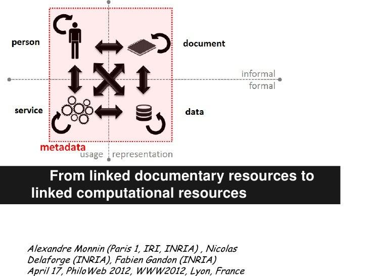 From linked documentary resources tolinked computational resourcesAlexandre Monnin (Paris 1, IRI, INRIA) , NicolasDelaforg...