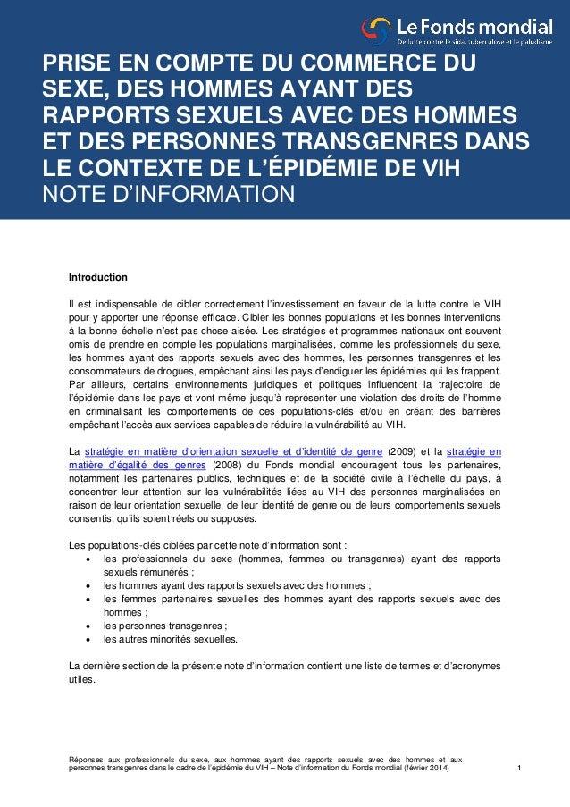 Réponses aux professionnels du sexe, aux hommes ayant des rapports sexuels avec des hommes et aux personnes transgenres da...