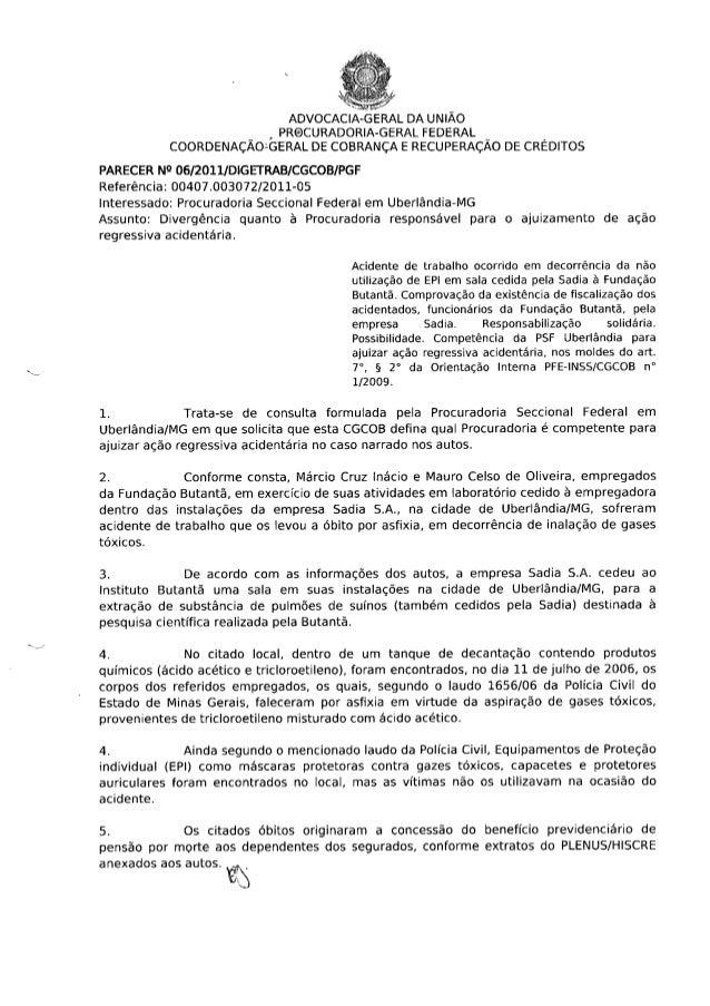 Co responsabilidade da contratante parecer cgcob digetrab nº 6_2011_ de 17 de maio de 2011.