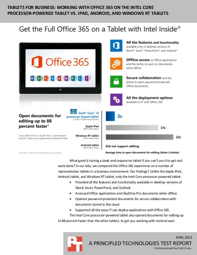 APRIL 2013A PRINCIPLED TECHNOLOGIES TEST REPORTCommissioned by Intel Corp.TABLETS FOR BUSINESS: WORKING WITH OFFICE 365 ON...