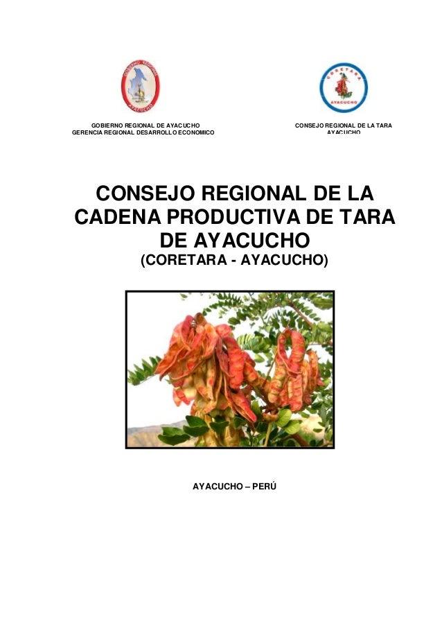 GOBIERNO REGIONAL DE AYACUCHO GERENCIA REGIONAL DESARROLLO ECONOMICO  CONSEJO REGIONAL DE LA TARA AYACUCHO  CONSEJO REGION...