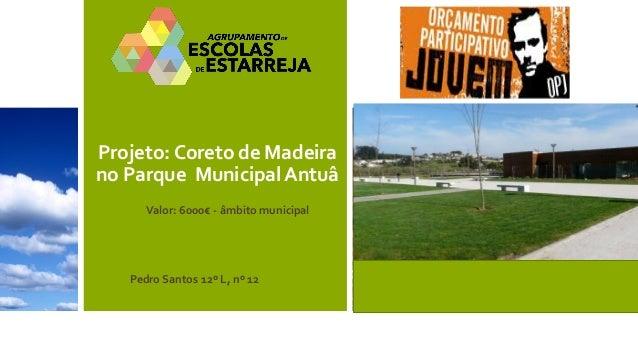 Projeto: Coreto de Madeira no Parque Municipal Antuâ  Pedro Santos 12º L, nº 12  Valor: 6000€ - âmbito municipal