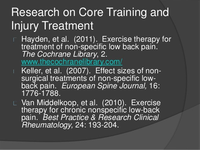 an analysis of core stability exercise as an intervention for low back pain Low-back stability training  'core strength', and 'core stability' have become modern day  when prescribing low back exercise programs for the many.