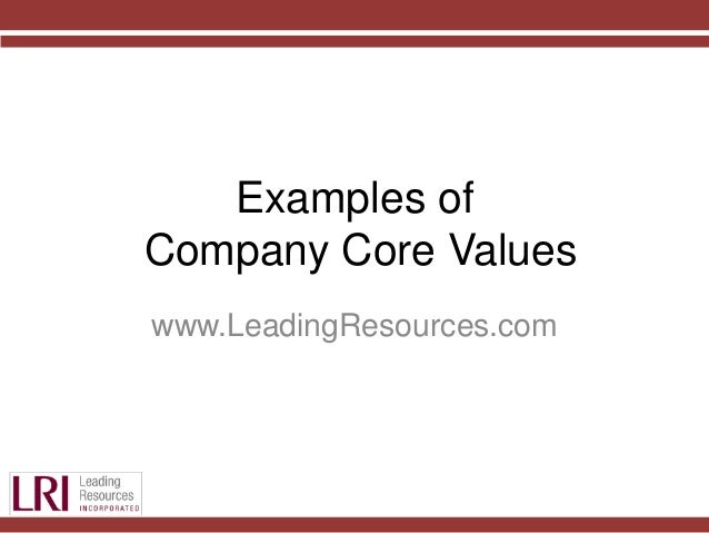 company core values