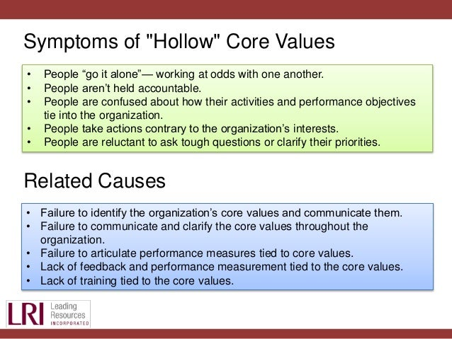 examples of core values of an organization In the nonprofit field, reference is often made to an organization's core values, mission statement, and vision statement i have found that there is some confusion regarding the difference between a mission and vision statement, and that some organizations have never identified their core values.