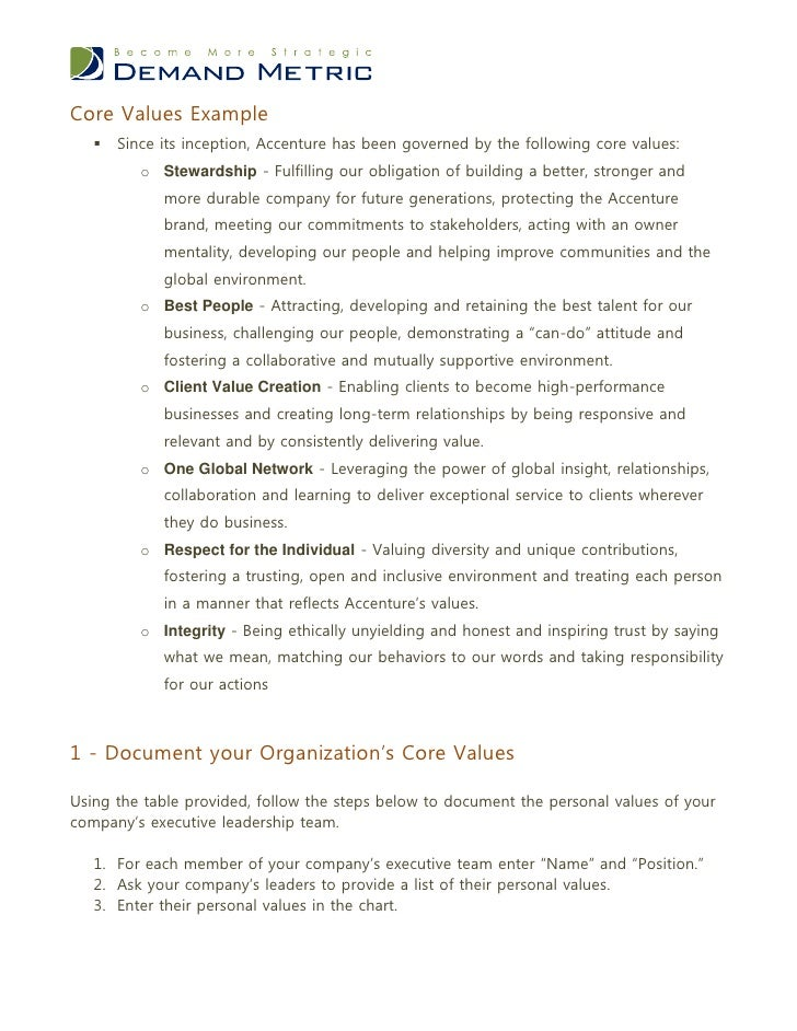Core Values Worksheet – Core Values Worksheet