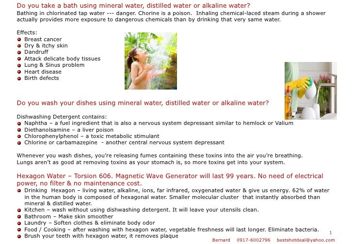 1<br />Do you take a bath using mineral water, distilled water or alkaline water?<br />Bathing in chlorinated tap water --...