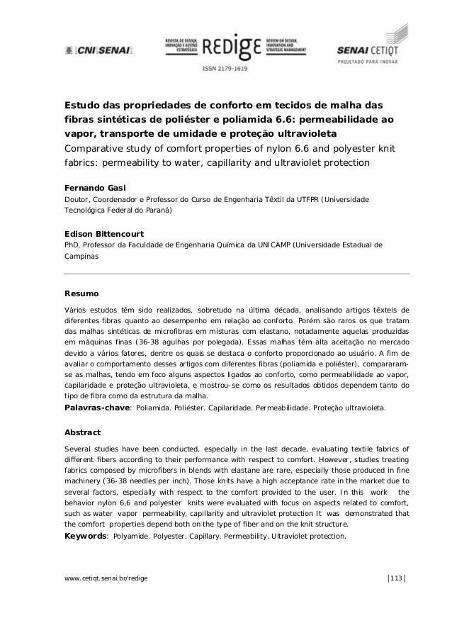 www.cetiqt.senai.br/redige │113│ Estudo das propriedades de conforto em tecidos de malha das fibras sintéticas de poliéste...