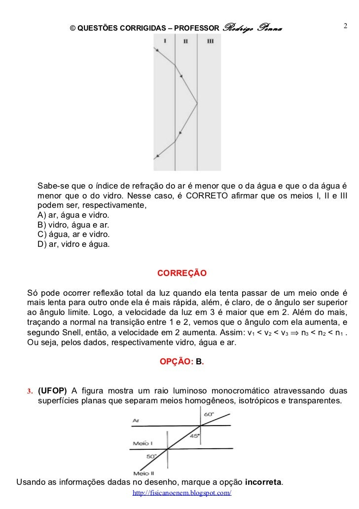 Questões Corrigidas, em Word:  Refração  - Conteúdo vinculado ao blog      http://fisicanoenem.blogspot.com/ Slide 2