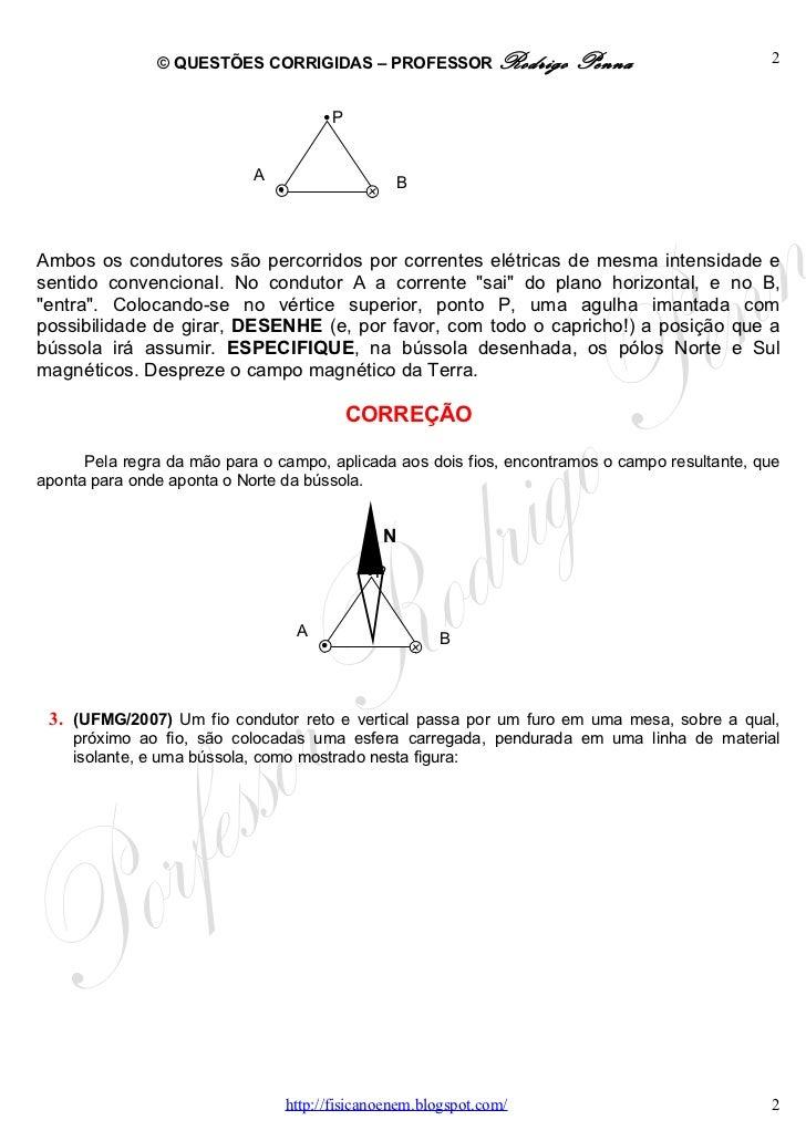 Questões Corrigidas, em Word:  Campo Magnético  - Conteúdo vinculado ao blog      http://fisicanoenem.blogspot.com/ Slide 2