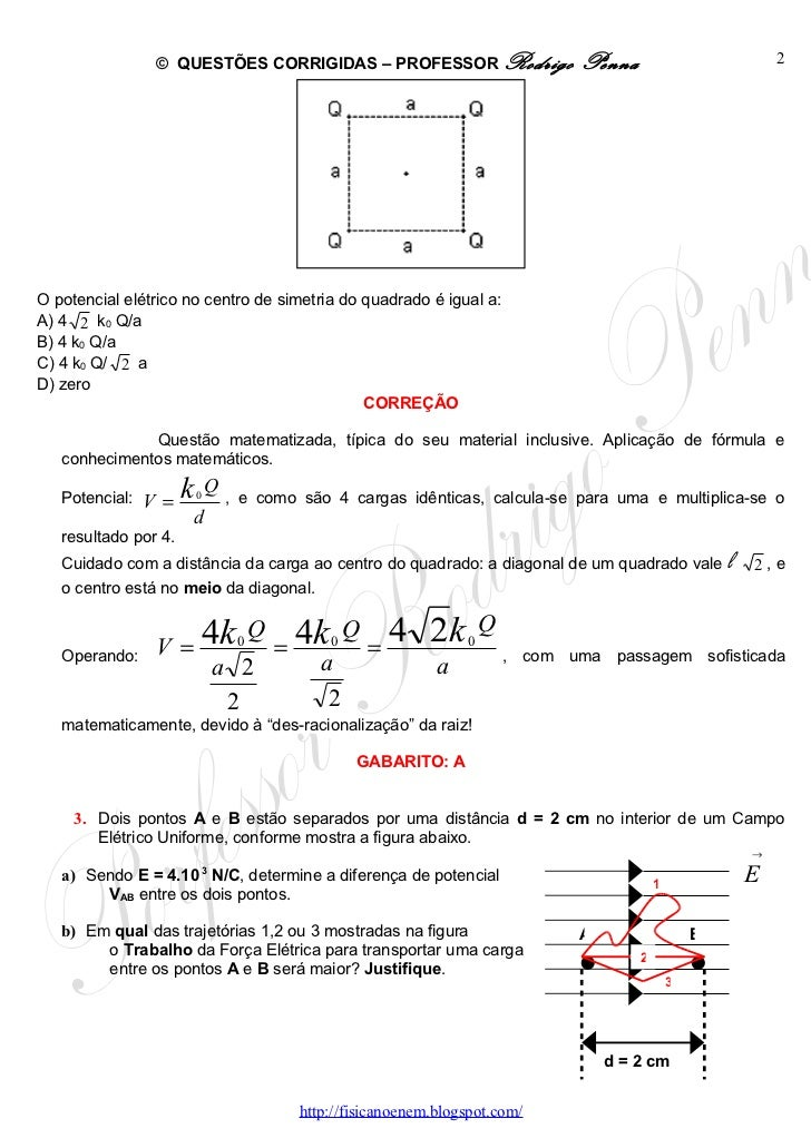 Questões Corrigidas, em Word:  Potencial Elétrico  - Conteúdo vinculado ao blog      http://fisicanoenem.blogspot.com/ Slide 2