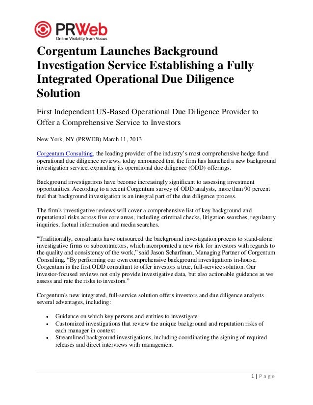 Corgentum Launches BackgroundInvestigation Service Establishing a FullyIntegrated Operational Due DiligenceSolutionFirst I...