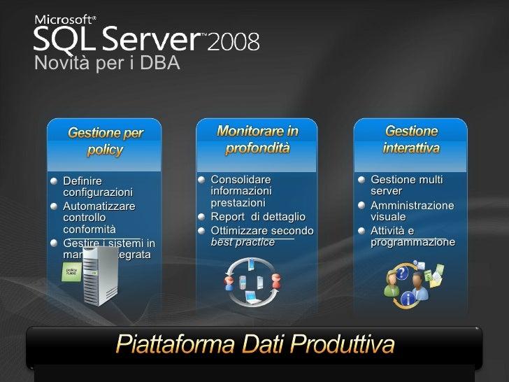 Novità per i DBA <ul><li>Gestione multi server </li></ul><ul><li>Amministrazione visuale </li></ul><ul><li>Attività e prog...
