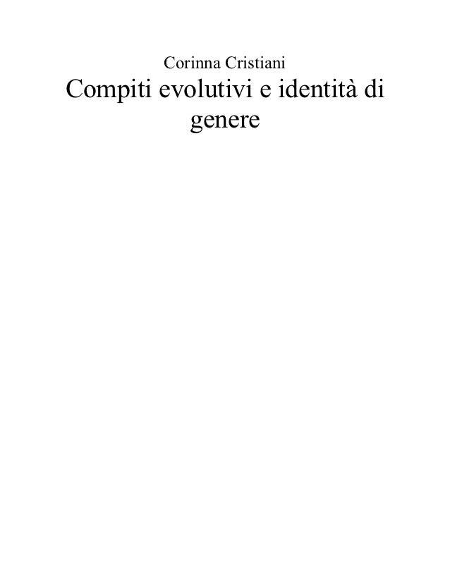 Corinna CristianiCompiti evolutivi e identità di          genere